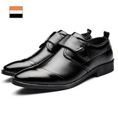 Men Fashion Casual Leather Shoes Wear-resistant Non-slip Flat Working Footwear Big Size Footwear black 38 leathers