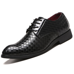 38-48 Fashion Leather Men Dress Shoe Pointed Oxfords Shoes For Men Lace Up Luxury Formal Shoes black 38 leathers