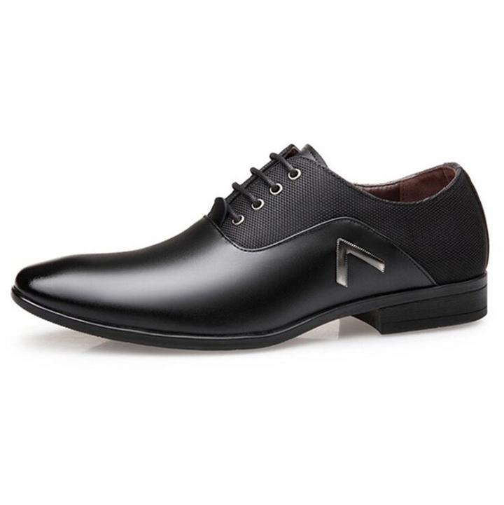 38-48 Leather shoes Men Dress Shoe Pointed Oxfords Shoes For Men Lace Up Luxury Men Formal Shoes black 38 leathers
