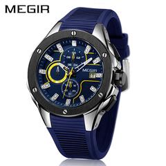 MEGIR Men Sport Watch Chronograph Silicone Strap Quartz Army Military Watches Clock Men Luxury Male 1 one size