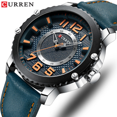 CURREN Casual Leather Watch Men Style Business Quartz Wristwatch Unique Design Clock Male Watches 1 one size