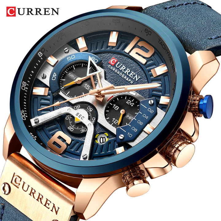 CURREN Casual Sport Watches Men Blue Luxury Military Leather Watch Man Clock Chronograph Wristwatch blue one size