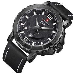 Naviforce Leather Strap Sports Watches Men Quartz Clock Sports Military Wrist Watch black one size