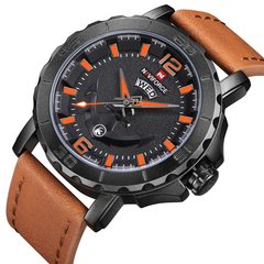 Naviforce Leather Strap Sports Watches Men Quartz Clock Sports Military Wrist Watch brown orange one size