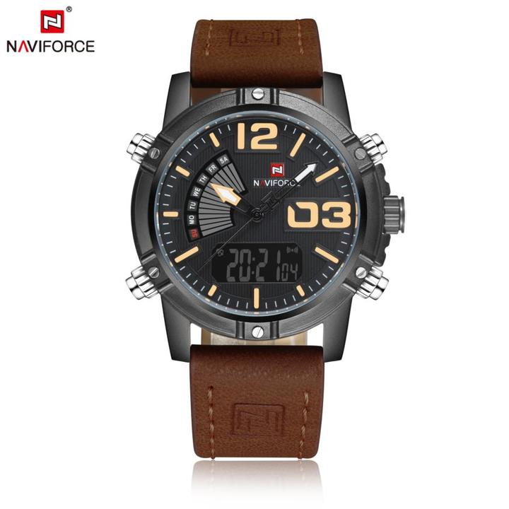 NAVIFORCE Dual Display Watch Men Sport Quartz LED Watches Leather Band Analog Digital 30M Waterproof brown one size