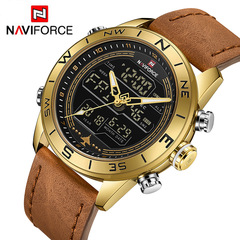 NAVIFORCE Fashion Gold Men Sport Watch Mens LED Analog Digital Army Military Leather Quartz Watches 1 one size