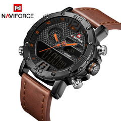 NAVIFORCE Watches Luxury Men Leather Sports Watches Men's Quartz LED Digital Waterproof Military black one size