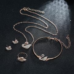 4PCS Jewelry Sets for Women Swan Zircon Hypoallergenic Copper Necklace/Earrings Jewelry Sets gold one size