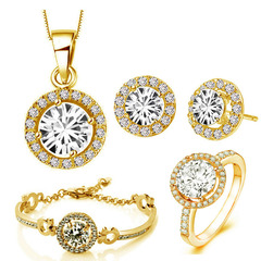 Women Wedding Necklace Earring Ring Bridal Jewelry Set Sterling Silver Zircon Crystal Anniversary gold one size