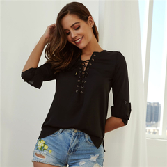 elegant V neck pleated chiffon blouse long style long sleeve sweet shirts ladies casual chic tops s black