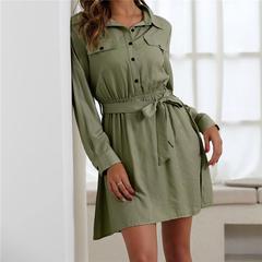 women dress shirt neck short sleeve cotton linen short summer dresses Casual korean vestidos s green
