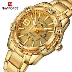 Luxury Brand NAVIFORCE Men Gold Watches Men's Waterproof Stainless Steel Quartz Watch Male Clock 1 one size