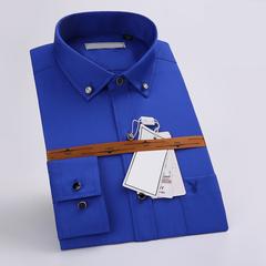 mens work shirts soft Long sleeve square collar regular men dress shirts blue Pure color male tops BLUE 180/104A