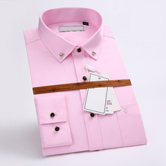 mens work shirts soft Long sleeve square collar regular men dress shirts blue Pure color male tops PINK 180/100A