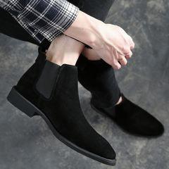 Men PU Leather Chelsea Boots Autumn Winter  Microfiber Leather shoes Dress Wedding Boots 1 43