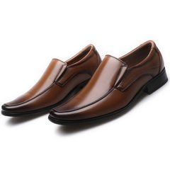 PU Leather Concise Men Business Dress Pointy brown Shoes Breathable Formal Wedding Basic Shoes Men 1 45 leathers