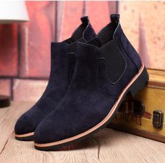 The Chelsea Boot Men Suede Hombre Martin Boots Low Heel Nubuck Leather Ankle Thread Britain Botas blue 40