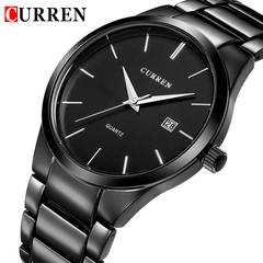 CURREN Fashion Business Quartz Wrist Watch Stylish Men's Military Waterproof Full Steel Male Clock black one size