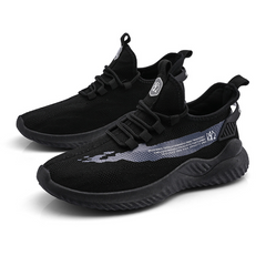 Fashion Sneakers Lightweight Men Casual Shoes Breathable Male Footwear Lace Up Walking Shoe black 39