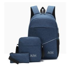 Man Laptop Usb Bagpack Charging Computer Backpacks Casual Style Large Business Travel Backpack blue 16 inch