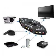 Black 3 Ports Video Game Switch Selector Splitter Audio Cable AV RCA