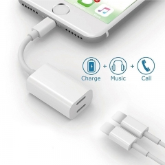 For iPhone 7 Audio Headphone Charging Dual 8Pin Port Splitter Adapter Cable as shown one size