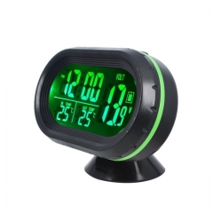 LED Lighted Digital Car Clock Thermometer Auto Dual Temperature Gauge Voltmeter Voltage Tester