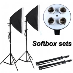 Photographic Equipment Photo Studio Soft Box Kit Video Four-capped lamp Holder as shown one size