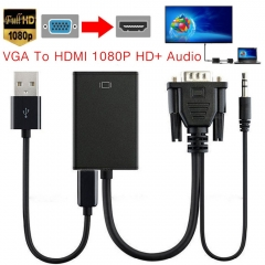New VGA Male to HDMI Female Converter Adapter Cable With Audio Output 1080P