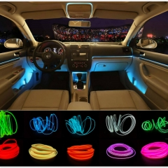 car styling 3meter refit light clamping-edge el wire flexible neon decorate white one size