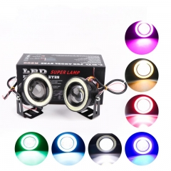 2 Pcs Car LED Fog Light Angel Eyes Daytime Running Lights R500 2.5/3.0/3.5 Inch white 3.5""