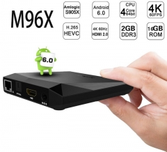 M96X Android 6.0 TV Box with Amlogic S905X 64 Bits 2GB RAM 16GB ROM/2.4GHz WIFI/LAN 100M 1G+8G