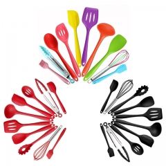 Silicone Cookware Set Heat Resistant Nonstick Cooking Tools Kitchen & Baking Tool Kit Utensils Red one size