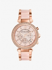 MICHAEL KORS Parker Rose Gold-Tone Blush Acetate Watch as shown one size