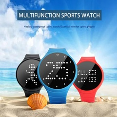 LED Lattice Digital Sports Pedometer Smart Calories Calculation Watch Step Counter black one size
