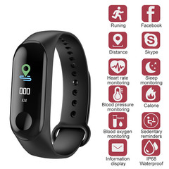 M3 Smart Band Blood Pressure Fitness Tracker Pedometer Heart Rate Monitor Smart Bracelet Wristband blue one size