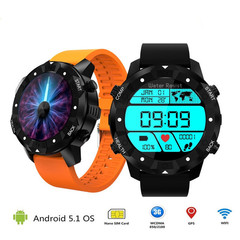 S3 3G  Waterproof IP68 1GB+16GB Android 5.1 Heart Rate Smartwatch with Wifi GPS Wristwatch black one size