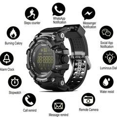 Bluetooth Clock EX16 Smart Watch Notification Remote Control Pedometer Sport Watch IP67 Waterproof black one size