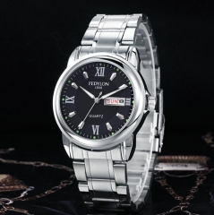 Luxury men full stainless steel casual quartz watch Men Fashion Waterproof Business Calendar Watches Silver black one size