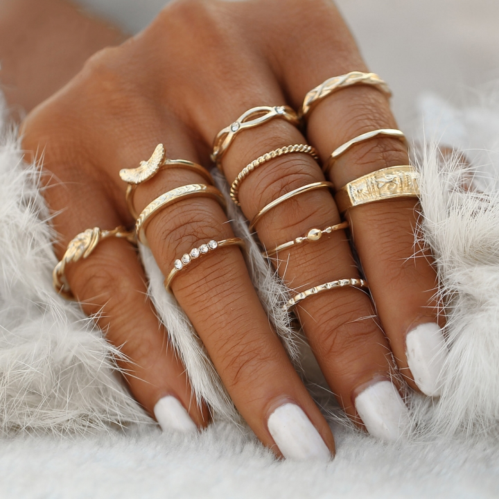 12 pc/set rings charm gold color ring set for Women Vintage Party Rings Punk Jewelry Gift Gold as picture