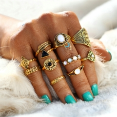 Valentines Gift Fashion Ring Sets Vintage Crystal Opal Knuckle rings for Women Jewellery 10PCS/Lot Gold as picture