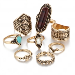 Valentines Gift Jewelry Stone Ring Sets Women rings Vintage Turkish Flower Knuckle Rings 8pcs/Set gold as picture