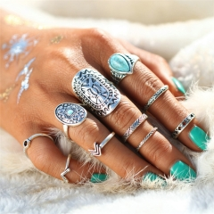 2018 Mix Finger ring Sets Vintage Unicorn Steampunk Knuckle Rings for Women Jewelry Valentines Gift silver as picture