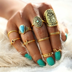 Fashion Pattern Mix Finger ring Sets 2018 Vintage Unicorn Steampunk Knuckle Rings for Women Jewelry gold as picture