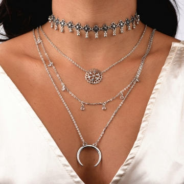 fashion necklace trendy jewelry moon multilayer stone chain necklace valentines gift