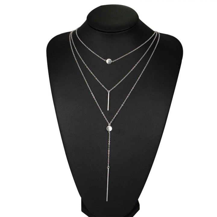 Women Necklaces  Pendants 3 multi layer Necklace Tassel Charm Bar statement Necklace Valentines Gift silver as picture