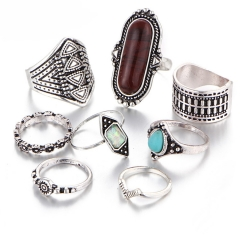 Valentines Gift Jewelry Stone Ring Sets Women rings Vintage Turkish Flower Knuckle Rings 8pcs/Set silver as picture