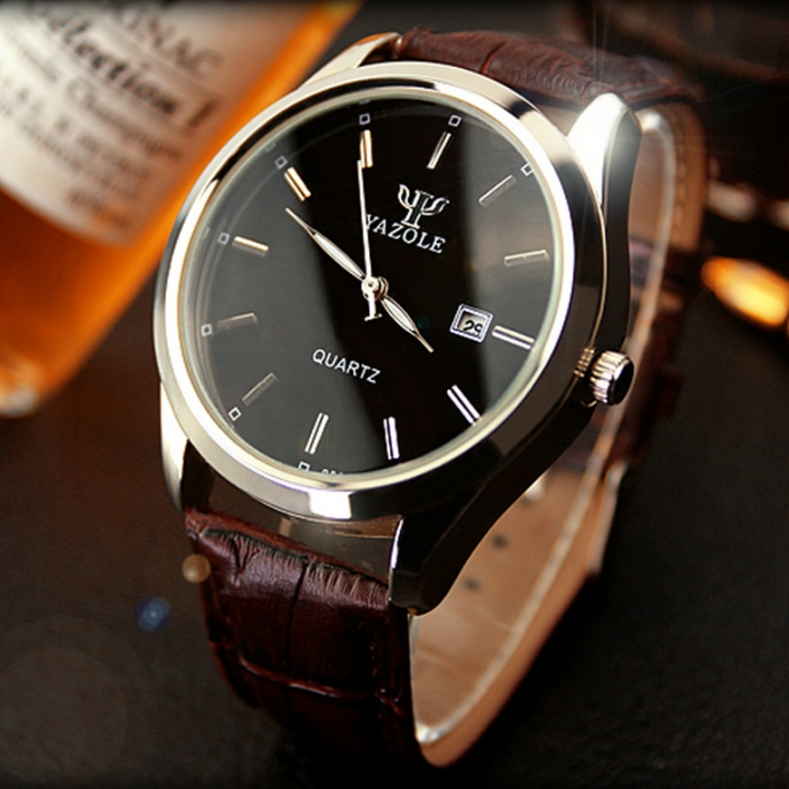 Men Watch Auto Date Business Quartz Watch Waterproof WristWatch Luminous Clock Valentines Gift black brown one size