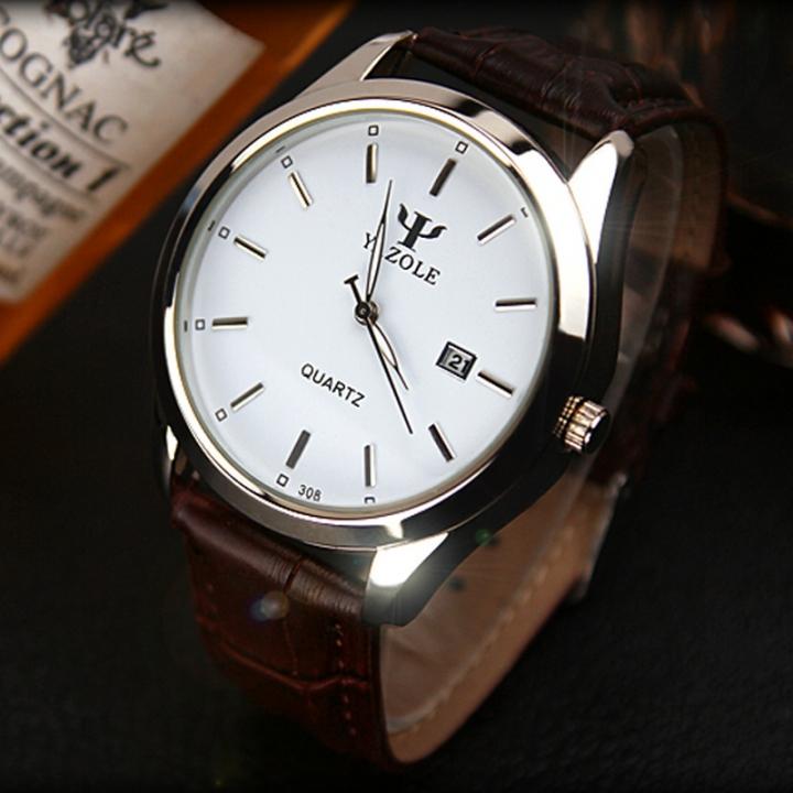 Men Watch Auto Date Business Quartz Watch Waterproof WristWatch Luminous Clock Valentines Gift white brown one size