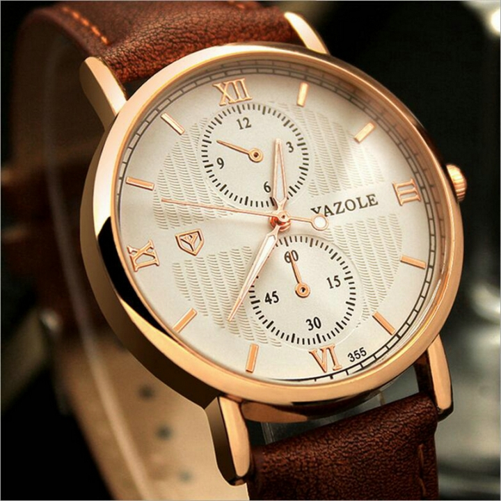 Luminous Men Watch Luxury business Male Quartz WristWatch Leisure Leather Clock Valentines Gift white brown one size